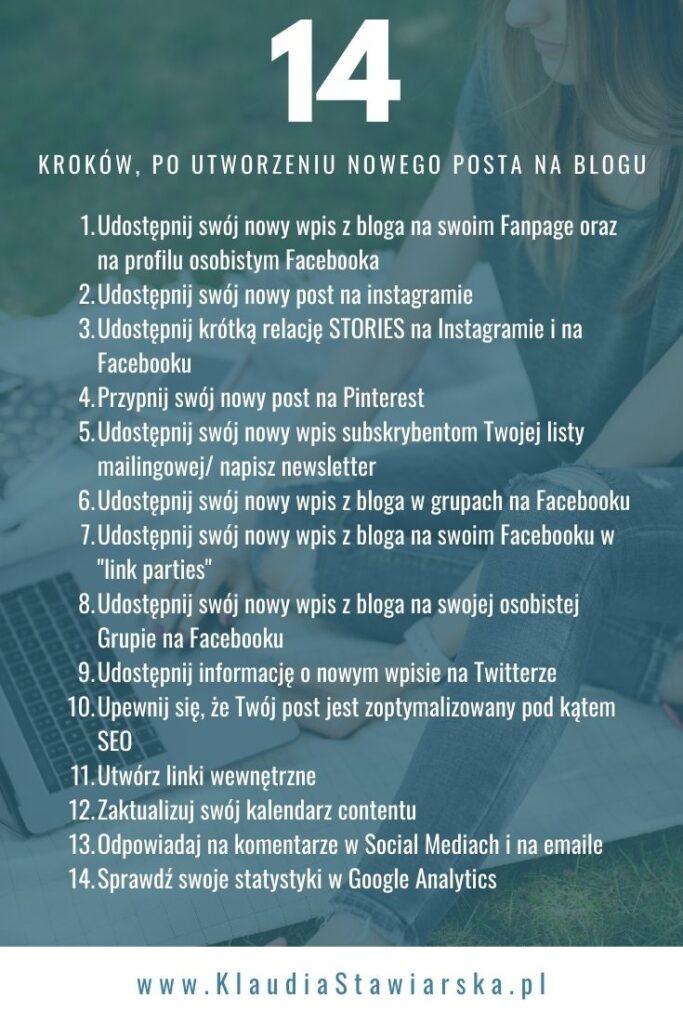 14 kroków po utworzeniu posta na blogu